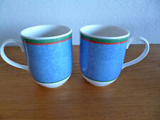 Villeroy & Boch Tipo Viva 2 Coffee Mugs  Blue Dimpled w/Red & Grn Bands 3 3/4""