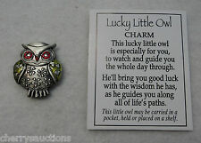 z Green LUCKY LITTLE OWL POCKET TOKEN CHARM good luck wisdom figurine mini ganz