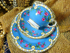 AYNSLEY TEA CUP AND SAUCER TRIO HP BLUE HP PINK FLOWERS STUNNING DESIGN  c1890