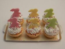 Dolls house food: Tray of Easter bunny tarts   -By Fran