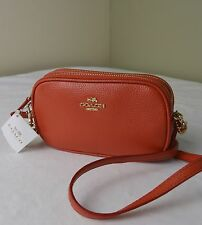 Coach 53034 Watermelon Orange Pebble Leather Crossbody Pouch