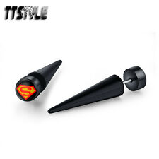 TTstyle 8mm Black Superman Clear Epoxy UV Acrylic Spike Earrings A Pair