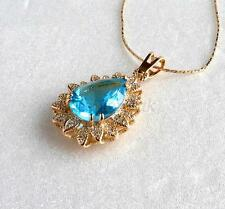 18K Yellow Gold Plated Aqua Sea Blue Simulated Diamond Necklace Valentines Gift
