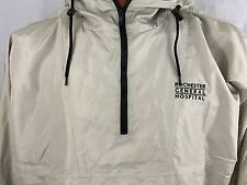 Rochester General Hospital Beige Tan Hooded Windbreaker with Pouch XL X-Large