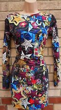 ASOS LONG SLEEVE MULTI COLOUR STAR PRINT BODYCON TUBE PENCIL TEA DRESS 12 M