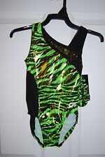 GK Elite Gymnastics Leotard - Adult Medium - Black/Lime/Lemon-lime