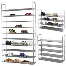 10 Tiers Free Standing 50 Pairs Metal Shoe Rack Storage Tower Organizer US
