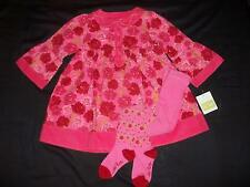 NWT Le Top Girls 2T Rosy Poises Pink Corduroy Dress Tights Clothes Outfit Lot