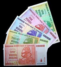 5 Zimbabwe Banknotes-includes 1 x 1,5,10,20 & 50 Billion Dollars-currency