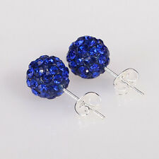 1 Pairs Austrian Crystal Pave Disco Clay Ball Beads Steel Stud Earrings 10mm