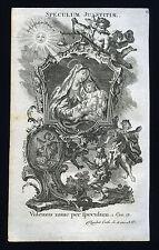 santino incisione 1700 litanie lauretane SPECULUM JUSTITIAE klauber
