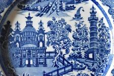 EARLY Blue & white transferware pearlware plate Pagoda & Fence c.1800 (A624)