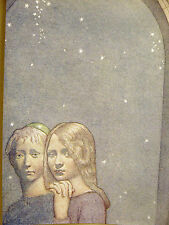 Cayley Robinson BOY w SKULL CAP and GIRL Under Stars 1911 Antique Print Matted