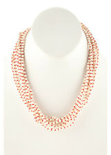 NEW PATRICIA VON MUSULIN Off White Red Silk Resin 8 Strand Beaded Necklace $1125