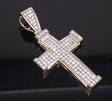 "10K Yellow Gold Men's/Women's Unique Cross #A4B4 1.5"" Long/ Jesus, Angel"