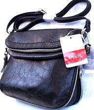 Relic by Fossil Expandable Black Faux Leather Crossbody Bag NWT