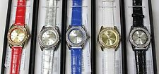 Lot of 5-Quantity - MANHATTAN Crystal Bezel Dial Faux Leather Band WOMEN Watch