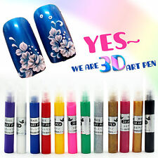 12 Pcs 3D Nail Art Painting Drawing Pen Set Kit For UV Gel Polish Decoration New