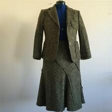DKNY Dark Green Wool Boucle Tweed Jacket & Skirt Suit Set Size 6