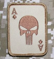 PUNISHER ACE OF SPADES DEATH CARD USA ARMY TACTICAL DESERT VELCRO MORALE PATCH
