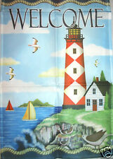 Lighthouse Welcome Small Outdoor Garden Flag ~ 12 x 18 ~ Nautical - Boats - New