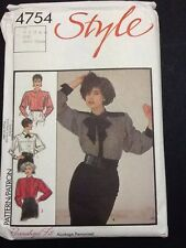 Style Pussy Bow Blouse Pattern # 4754 Size 10 From 1986