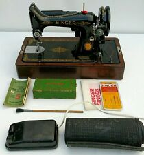 Vtg 1950 Singer 99K Electric Sewing Machine With Case, Key, Accs & Instructions