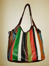 Women Lucky Brand vintage inspired multi-color leather patch hobo shoulder purse