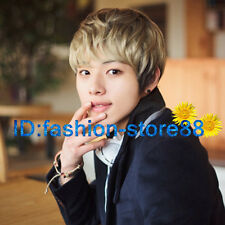 Fashion wig New sexy men boy short Blonde Mix Natural Hair wigs + Free Wig cap