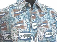 KAHALA Avi Collection Hawaiian Shirt Fish Reverse Print Sz Med Cotton Blue Green