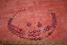 Vintage Pink Bead Crystal Accent Necklace Clip Earring Set Japan 3 Strands