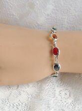 """Estate 925 Sterling Silver Italy  MILOR  Faceted Multi Color Crystal Bracelet 7"""""""