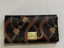 NEW WITH TAGS RALPH LAUREN WOMEN'S PRINTED LEATHER WALLETS - BLACK - $69.99