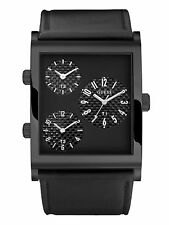 GUESS MEN'S COLLECTION 3 TIMES ZONE BLACK IN BLACK WATCH U15038G1