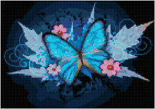 Cross Stitch Chart Abstract Flowers & Butterfly Aida Needlework Picture Craft