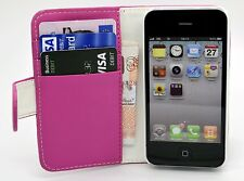 New High Quality Pink Wallet Leather Case for iPhone 4 & 4s with Card Holder