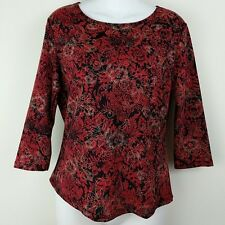 Red Floral Top 3/4 Sleeve Brittany Black Brand Clothing Sz M
