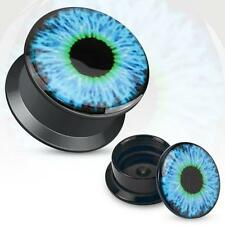 Earrings Ring Black UV Screw Fit Plug with Hollow Blue Eyeball Sold as a pair 4g