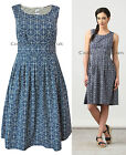 New Seasalt 8 - 18 Anchor Gylly Navy Blue Fit & Flare Tea Cotton Dress Vintage