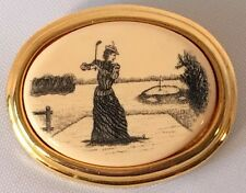 Vintage Barlow Oval Pin Brooch Woman Playing Golf Etched Scrimshaw Cameo Style