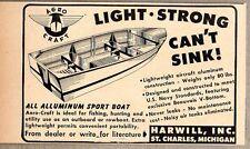 1947 Print Ad Aero Craft All Aluminum Sport Boats Harwill Inc St Charles,MI