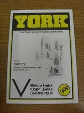 25/11/1984 Rugby League Programme: York v Batley  . Condition: We aspire to insp