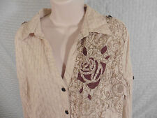 VANITY Button Up Long Sleeve Shirt 2XL XXL Open Knit Tan w/ Brown & Bronze NWT