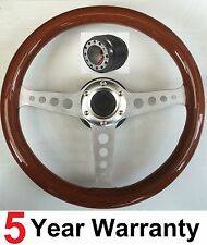 WOODEN STEERING WHEEL & BOSS KIT FOR  CLASSIC MINI & MOMO OMP MOUNTNEY  HORNS