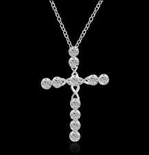 .925 Sterling Silver plated Crystal Cross Pendant Necklace Infinity CZ Chain Gem