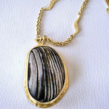 Heather Benjamin Fossilized Oyster Wave Chain Necklace 22k Vermeil Sterling 32""