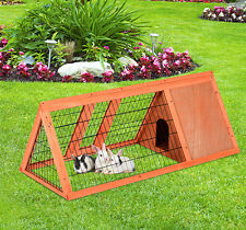 Pawhut Rabbit Hutch Wooden House Pet Small Animal Habitat Cage Run Backyard