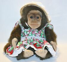 HOSUNG MONKEY Plush Stuffed CHIMP Puppet Squeaks Strawberry Dress Straw Hat 12""