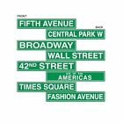 Pack of 8 New York Style Street Signs - 10 x 61 cm - Hollywood Party Decoration
