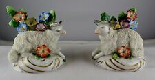 Pair Of Vintage German Porcelain Sheep Lamb Gold Anchor Mark Figurines Flowers